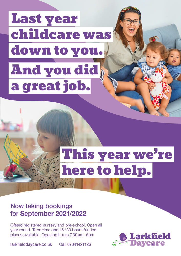 Larkfield Daycare, Liverpool. Book now for September 2021.